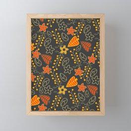 Golden falling leaves Framed Mini Art Print