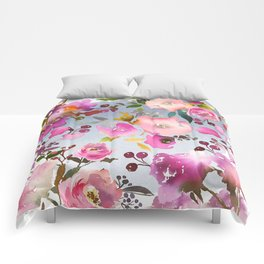Hand painted pink violet gray watercolor floral Comforters