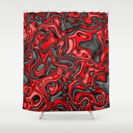 Funky Melted black and red Shower Curtain
