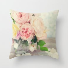 Still Life English Roses Throw Pillow