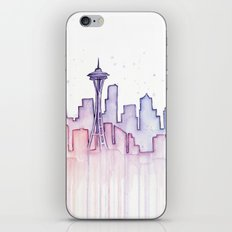 Seattle Skyline Watercolor iPhone & iPod Skin