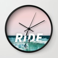 Ride The Waves Wall Clock