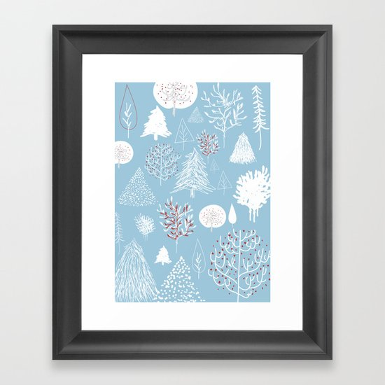 Christmas forest Framed Art Print