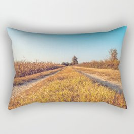 Country dirt road in Lomellina at sunset Rectangular Pillow