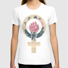 Respect, equality, women's liberation. Feminism Power Fist / Raised Fist White MEDIUM Womens Fitted Tee