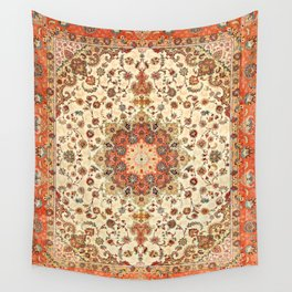 N71 - Orange Antique Heritage Traditional Moroccan Style Mandala Artwork Wall Tapestry