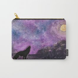 Spirit of the Night. Howling Wolf Orginal Watercolor Carry-All Pouch
