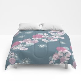 Floral Seamless Pattern on Blue Comforters