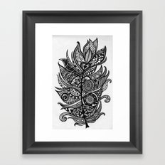 Zen Tangle Feather Framed Art Print