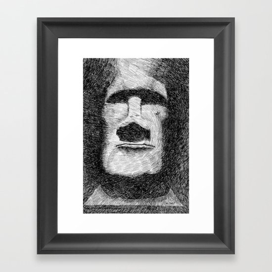 Easter island - Moai statue - Ink Framed Art Print