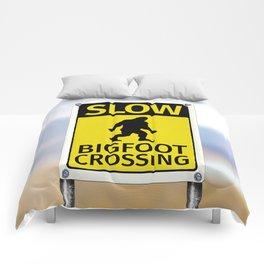 Bigfoot Crossing Sign Comforters
