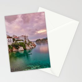 The sunrise at the old port in the Chora of Skiathos island, Greece Stationery Cards