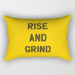 Rise and Grind black-white yellow typography poster bedroom wall home decor Rectangular Pillow