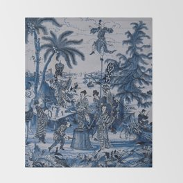 17th Century Delftware Chinoiserie Throw Blanket