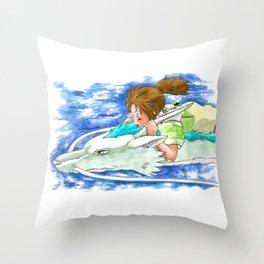 Ghibli Spirited Away Sky Illustration Throw Pillow