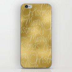 Merry christmas- christmas typography on gold pattern iPhone & iPod Skin