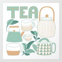Mint Green And Tan Teapots and Mugs Art Print