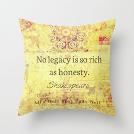 Shakespeare integrity honesty Quote Throw Pillow