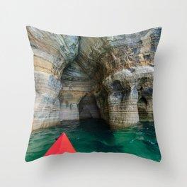 Red Kayak in Lake Superior Cave Throw Pillow