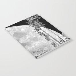 California Dream // Moon Black and White Palm Tree Fantasy Art Print Notebook
