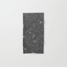 Modern elegant black faux glitter luxury pattern Hand & Bath Towel