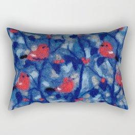 Bullfinches, birds in the trees, fiber art, wool painting Rectangular Pillow