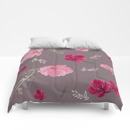 Watercolor pink & red peonies on dusty pink background Comforters