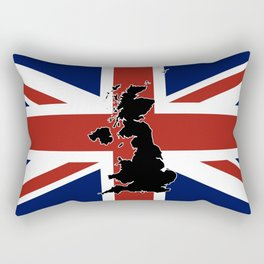 UK Silhouette and Flag Rectangular Pillow