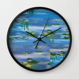 monet style water lillies lilys lilies nympheas impresionist pond sky willow lily pads lilly pad Wall Clock