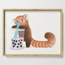 Red Panda with Boba Tea Serving Tray