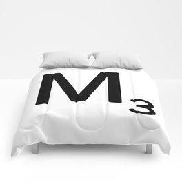 Letter M - Custom Scrabble Letter Tile Art - Scrabble M Initial Comforters