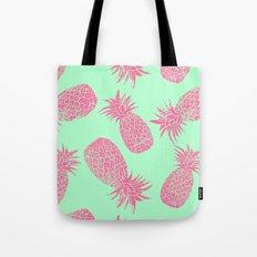 Pineapple Pattern - Mint & Crimson Tote Bag