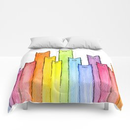 Cat Rainbow Watercolor Pattern Comforters