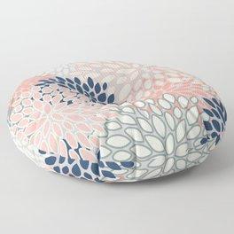 Festive, Modern, Floral Prints, Pink, Navy, Gray Floor Pillow