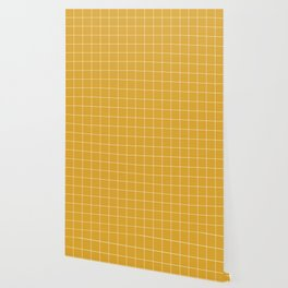 Yellow Mustard #9 Grid Pattern Line Stripe Minimalist Geometric Stripes Lines Wallpaper