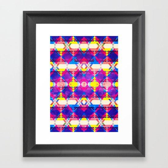 Blue Abstract Diamonate Framed Art Print