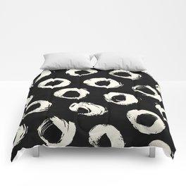 Polka Dots Cream on Black 2 Comforters