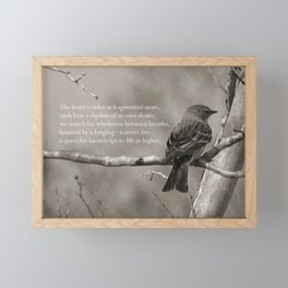 The Quest:  Black and White Bird Antiqued Framed Mini Art Print