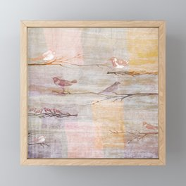 Golden Pink Birds Framed Mini Art Print