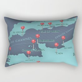 English Channel Nautical Map Rectangular Pillow