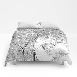 Tokyo White Map Comforters