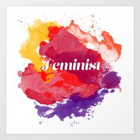 feminism Art Prints featuring Feminism Watercolor by Pia Spieler