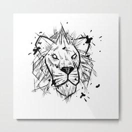 Lion Handmade Drawing, Made in pencil and ink, Tattoo Sketch, Tattoo Flash, Blackwork Metal Print