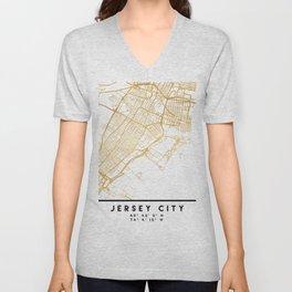 JERSEY CITY NEW JERSEY STREET MAP ART Unisex V-Neck
