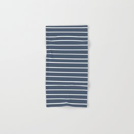 Colorful Stripes, Aqua, Dark Navy Blue and White, Abstract Art Hand & Bath Towel