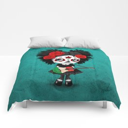 Day of the Dead Girl Playing Italian Flag Guitar Comforters