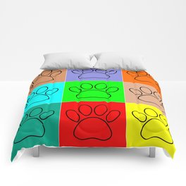 Puppy Paws In Squares Comforters