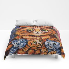 Cat and Her Kittens-Louis Wain Cats Comforters