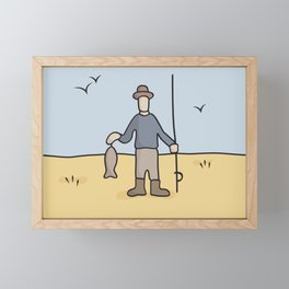 Beavid and Butthead Fisherman picture Framed Mini Art Print