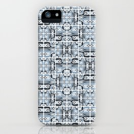 Alann, geometric print in blue and grey iPhone Case